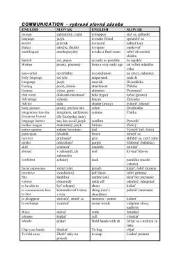 COMMUNICATION - vybraná slovná zásoba