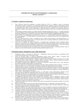 Všeobecné obchodné podmienky a ubytovací poriadok