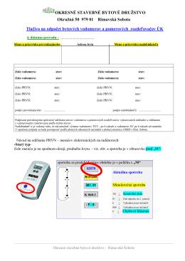 odpočty meracej techniky - Okresné stavebné bytové družstvo