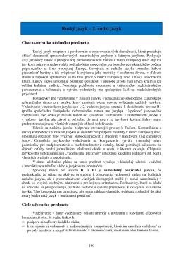 Ruský jazyk – 2. cudzí jazyk