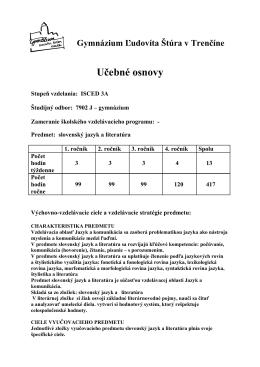 Učebné osnovy - Gymnázium Ľudovíta Štúra Trenčín