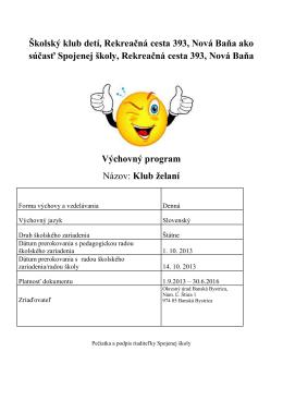 Výchovný program v školskom klube detí