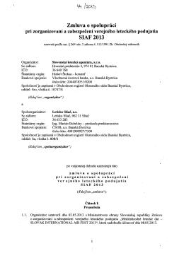 Zmluva o spolupráci SIAF 2013
