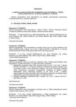 Uznesenie - Hamuliakovo