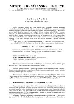 Rozhodnutie o povolení odstránenia stavby