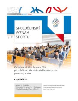 Spoločenský význam športu - Slovenský olympijský výbor