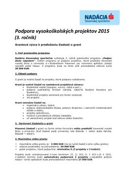 podmienky - Nadácia Slovenskej sporiteľne
