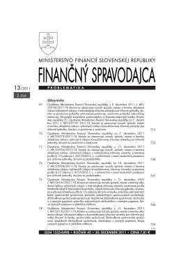 Finančný spravodajca 13/2011 (2. časť)
