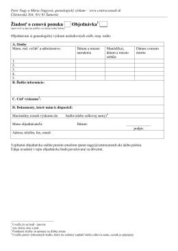 Žiadosť o cenovú ponuku Objednávka ___