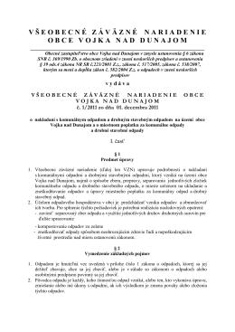 Obec Vojka nad Dunajom v súlade s ustanovením § 6 ods
