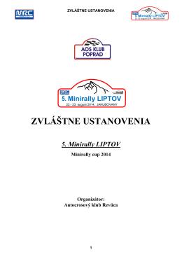 Zvláštne ustanovenia MRC Liptov
