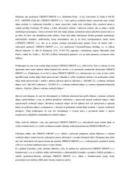 Súhlasím, aby spoločnosť CRESCO GROUP s.r.o., Balabenka Point