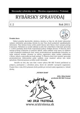 Spravodaj č. 2/2011 - slovenský rybársky zväz
