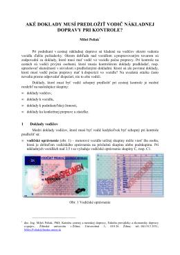 aké doklady musí predložiť vodič nákladnej dopravy pri kontrole?