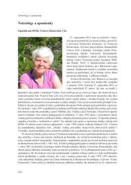 Nekrológy a spomienky - Slovenská botanická spoločnosť
