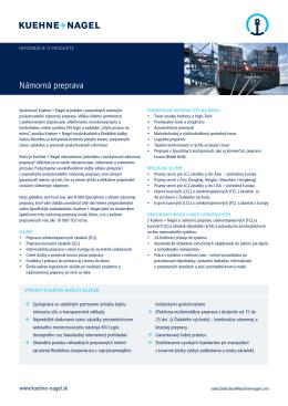 Námorná preprava - Kuehne + Nagel Slovensko