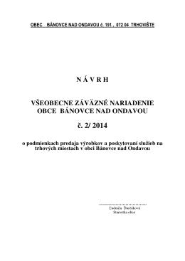 č. 2/ 2014 - Bánovce nad Ondavou