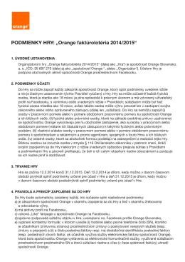"PODMIENKY HRY: ""Orange faktúrolotéria 2014/2015"""