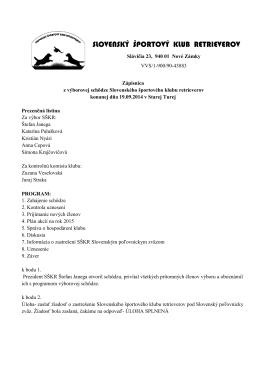 Zápisnica z výborovej schôdze Stará Turá 19.9.2014