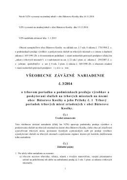 VŠEOBECNE ZÁVÄZNÉ NARIADENIE č. 3/2014