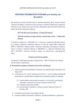 KRITÉRIÁ PRIJÍMACIEHO KONANIA pre školský rok 2014/2015