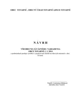 Návrh VZN č. 01-2014 o podmienkach predaja výrobkov a