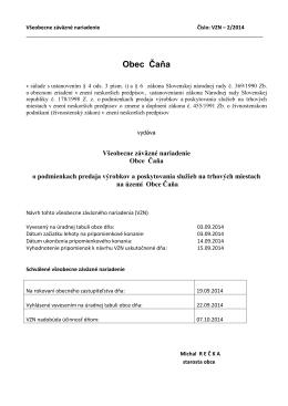 VŠEOBECNE záväzné nariadenie obce Široké č