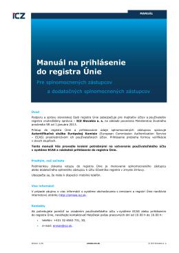Manuál na prihlásenie do registra Únie