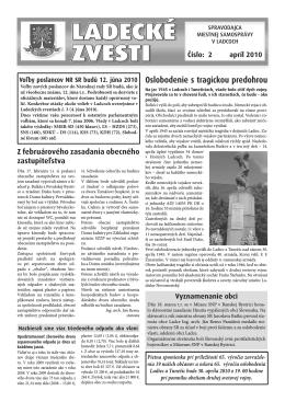 Apríl 2010 - Aktuality obce Ladce