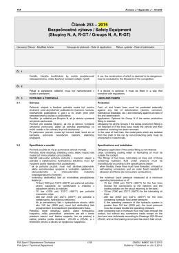 FIA MŠP 2015 - Príloha J, článok 253 Bezpečnostná výbava