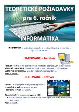 TEORETICKÉ POŽIADAVKY pre 6. ročník INFORMATIKA