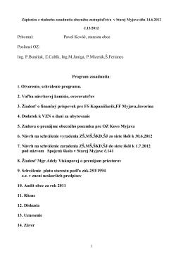 Zápisnica OZ 14.6.2012