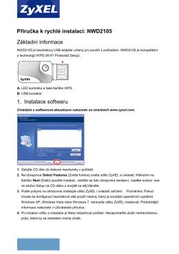 Příručka k rychlé instalaci: NWD2105 Základní informace 1