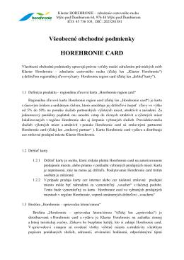 Všeobecné obchodné podmienky HOREHRONIE CARD