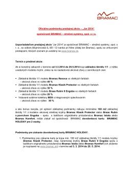 """Oficiálne podmienky predajnej akcie – """"Jar 2014"""
