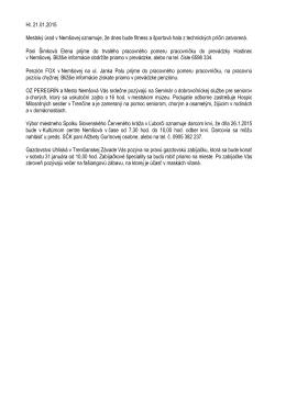 Hl. 21.01.2015 Mestský úrad v Nemšovej