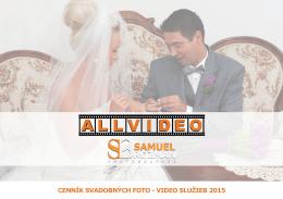 cenník svadobných foto - video služieb 2015