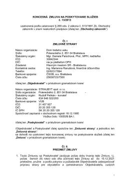 KONCESNÁ ZMLUVA NA POSKYTOVANIE SLUŽIEB č. 13/2013