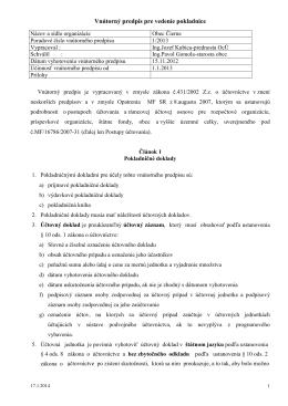 Vnútorný predpis pre vedenie pokladnice