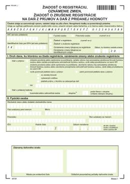 žiadosť o registráciu