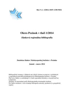 Pezinok v tlači 1/2014 - Malokarpatská knižnica v Pezinku