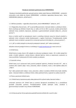 Všeobecné obchodné podmienky Karta HOREHRONCA