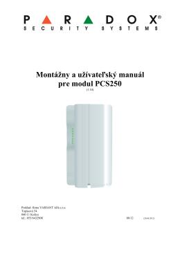 Montážny a užívateľský manuál pre modul PCS250