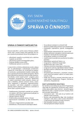 správa o činnosti - XVI. snem Slovenského skautingu