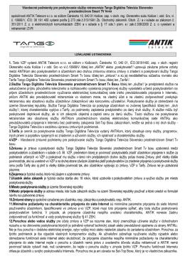 1. Tieto VZP vydané ANTIK Telecom s.r.o. so sídlom v