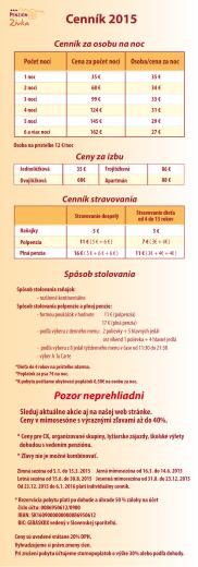 Cenník - Penzión Zivka