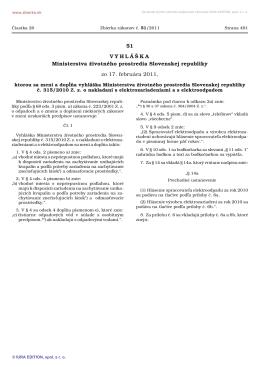 Vyhláška č. 51/2011 Z.z., ktorou sa mení a dopĺňa