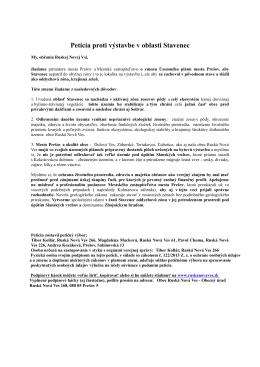Petícia proti výstavbe v oblasti Stavenec