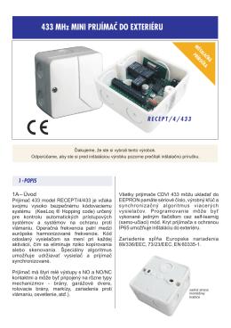 433 MHz Mini prijímač do exteriéru - inštalačná príručka