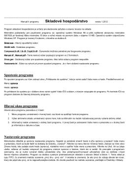 Dokumentácia programu Skladové hospodárstvo